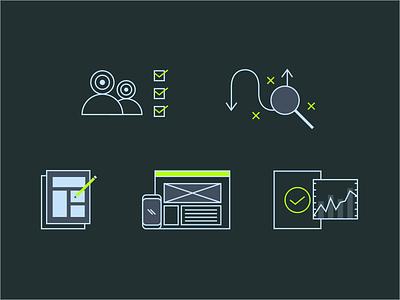 UX Process Icons process uxui ux line icon set icon design iconography icon infographic branding icons vector ui illustration flat design flat design graphic design