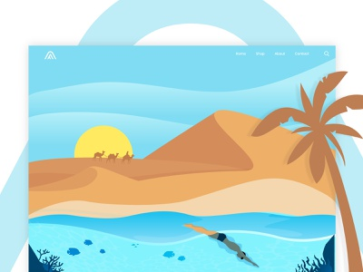 Desert and sea landing page 2d art flat  design flat vector illustration website user interface design ux ui