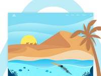 Desert and sea landing page