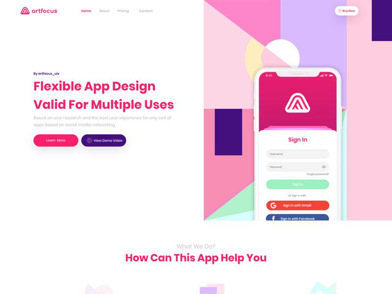 Free Landing Page by Artfocus aiman fakia artfocus colorful mobile application app design uix ui ux landing page design landingpage