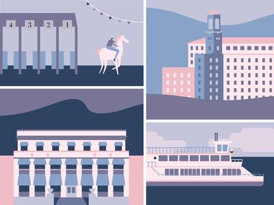 Hot Springs minimal illustration pastel colors vector character design magazine illustration editorial illustration flat illustration minimal illustration arkansas