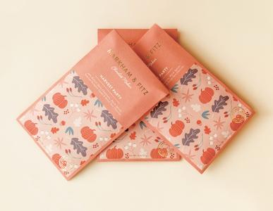 Markham & Fitz Harvest Party Seasonal Packaging branding pattern chocolate packaging arkansas packaging pastel colors minimalism design chocolate bar packaging design