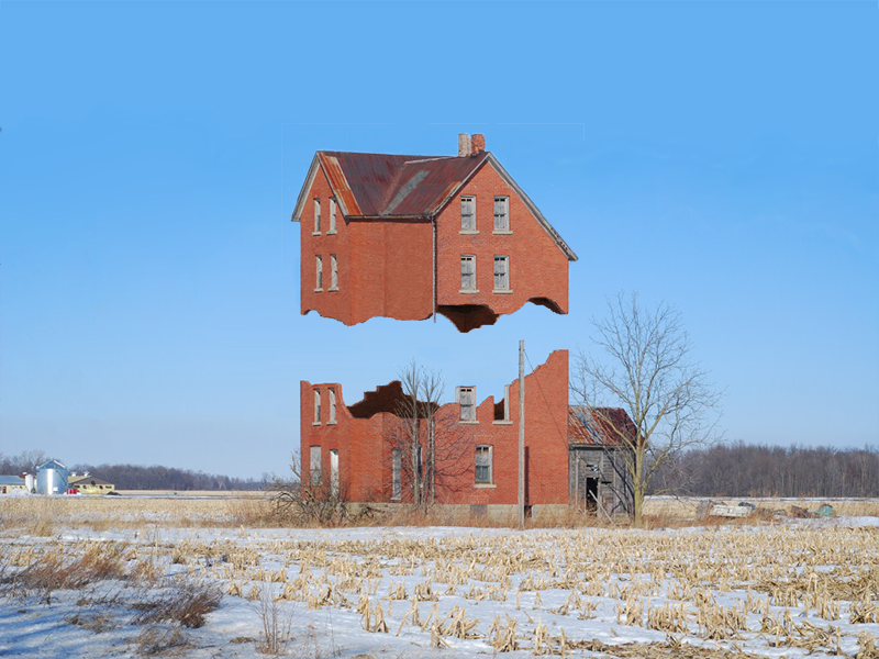 X crumbling suspended house