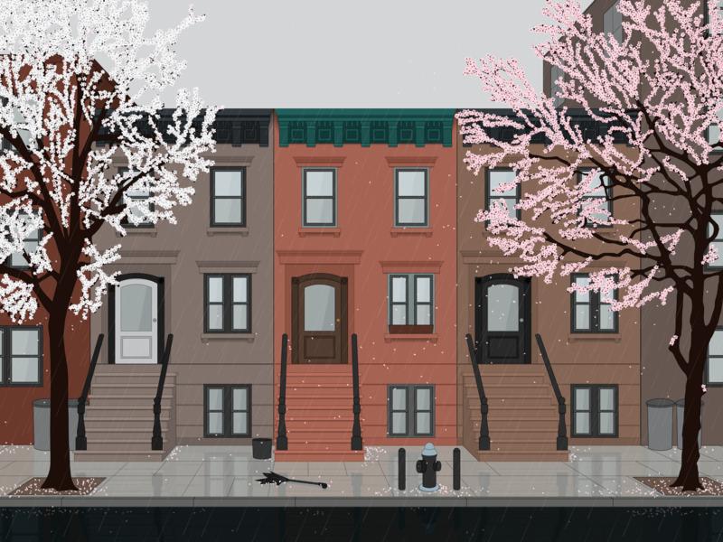 A Year: Blossoms photoshop sketch illustrator dvg seasons vector art broklyn street rain afternoon spring