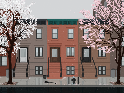 A Year: Blossoms photoshop sketch illustrator dvg seasons vector art broklyn street rain afternoon spring