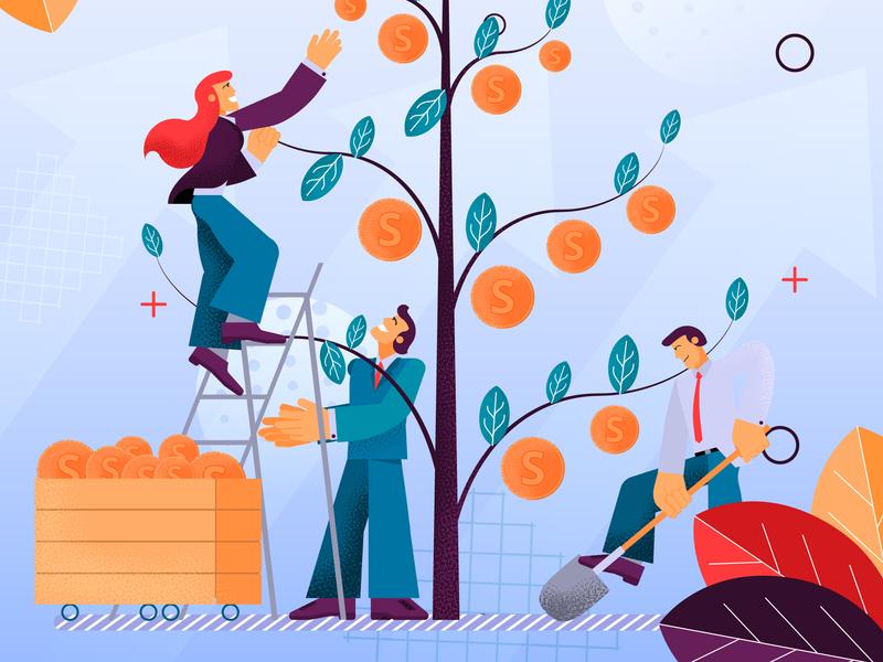 Teamwork Investment design concept illustration vector flat