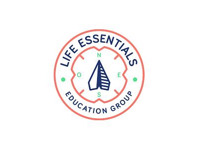 Life Essentials compass bariol font paper plane education identity logo