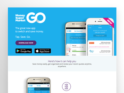 MoneySuperMarket Go App Landing Page android ios ui ux