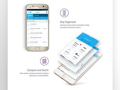 MoneySuperMarket Go App Landing Page 2/3 android ios ui ux