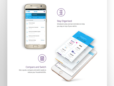 MoneySuperMarket Go App Landing Page 2/3 android ios ui ux