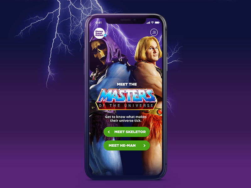 MoneySuperMarket Masters Of The Universe cx masters of the universe heman skeletor campaign mobile tv responsive