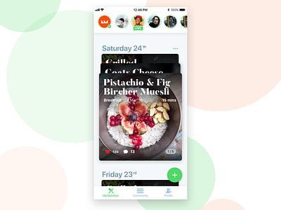 My Nutrition App food tracker community nutrition feed ui ux