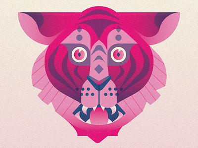 Tiger illustrator pink gradient symmetry vector tiger art colorful illustration