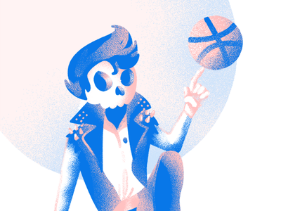 Hey There, Dribble blue pink photoshop illustrator illustration dribble rock punk greaser skeleton skull