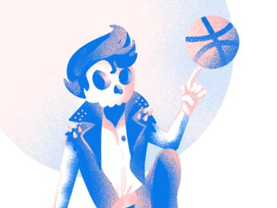 Hey There, Dribble blue pink photoshop illustrator illustration dribble rock punk greaser skeleton skull