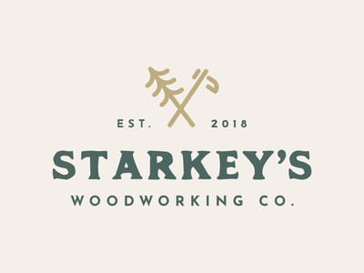 Starkey's Woodworking Co. typography type vintage mark rustic icon woodworking branding logo
