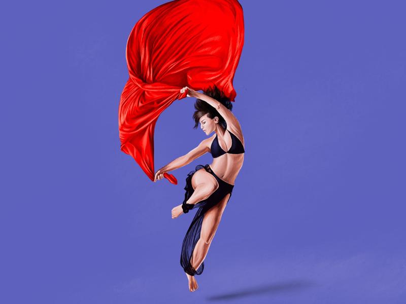 Feel ❣️ muzli dance lady watercolour procreate painting digital feel