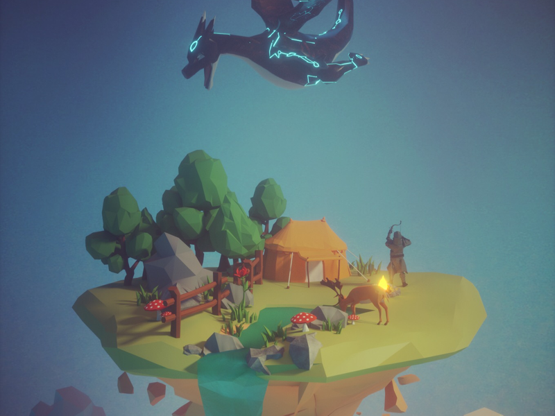 Isolated island:conflict island,dragon,deer,lowpoly