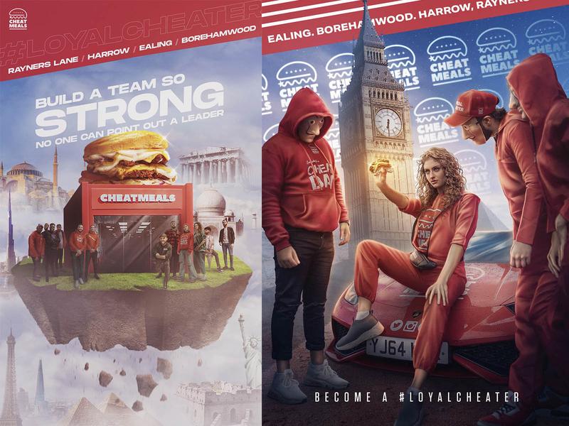 Artwork for in-store branding red burger food retouch artwork