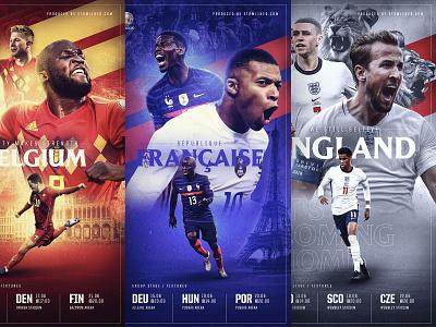 Euro Artwork / BEL FRA ENG artwork color football sports graphic design illustration ui design branding