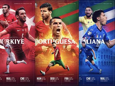 Euro 2020 / TUR POR ITA red green white blue turkey portugal italy photoshop graphic graphic design design branding