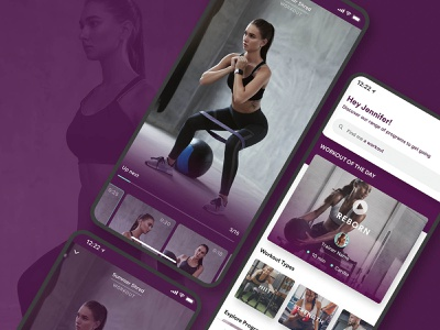 Initial Exploration of main Video Player - V1 WithU brand branding health purple yoga fitness gym ux ui