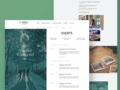 SOAS University of London design website whitespace listing events education university web white