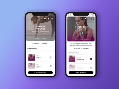 WithU App - V1 clean purple yoga fitness mobile ui iphone ios mobile