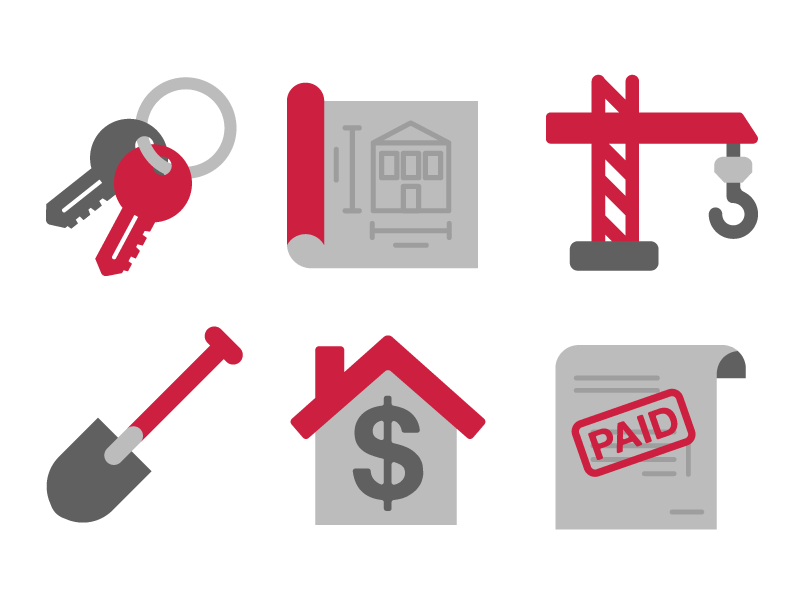 Housing Icons graphics vector homes flat housing icons