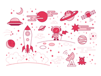 Pink Line-Based SPACE Illos