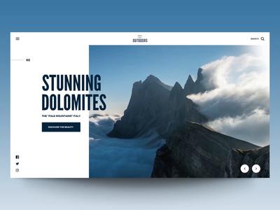 "Daily UI ""Stunning Dolomites"" parallax interaction concept website web motion principle interface animation exploration ux ui"