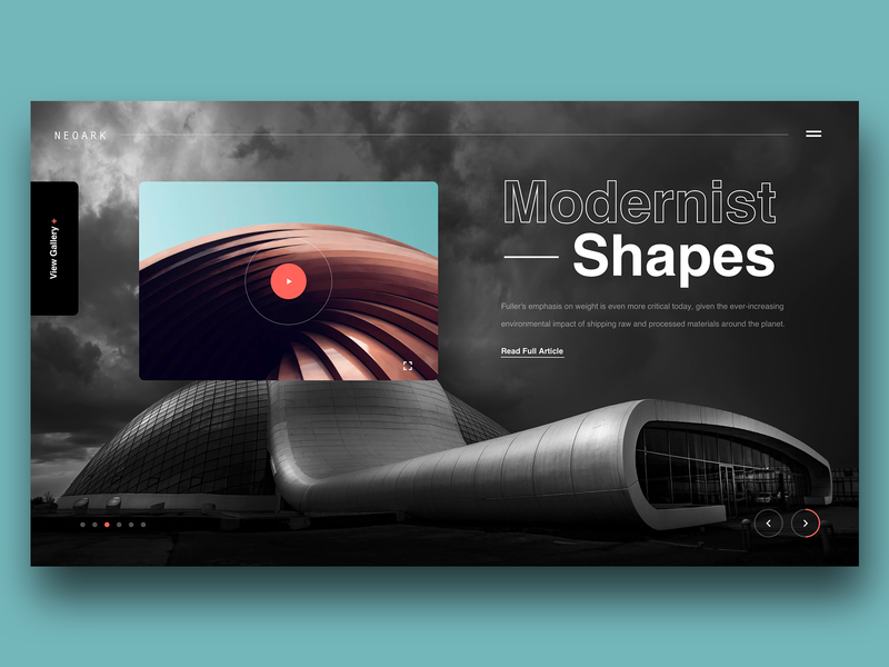 "Daily UI ""Modernist Shapes"" architectural design architechture minimal concept website web header interface design exploration ux ui"