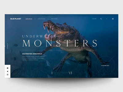 """Blue Planet"" Carousel Concept concept header principle web interface animation design exploration ux ui"
