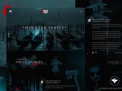 "Mocktober 2019 ""Haunted Venice"" website concept web interface design ui horror halloween mocktober 2019 mocktober"