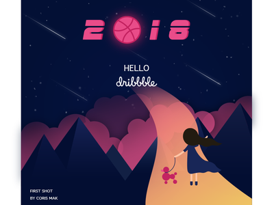 FIRST SHOT hello dribbble first shot dog poodle night sky 2018