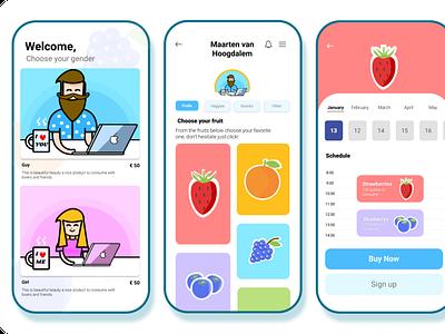 Fruity app screens ux illustration uxuidesign ui