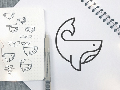 Whale logo sketch