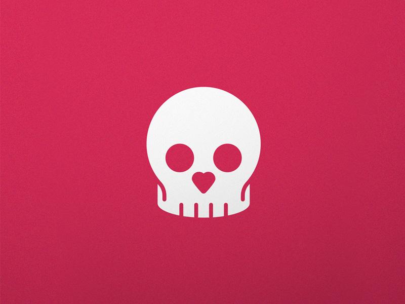 Skull Love logo negative space red skull logo heart love skull