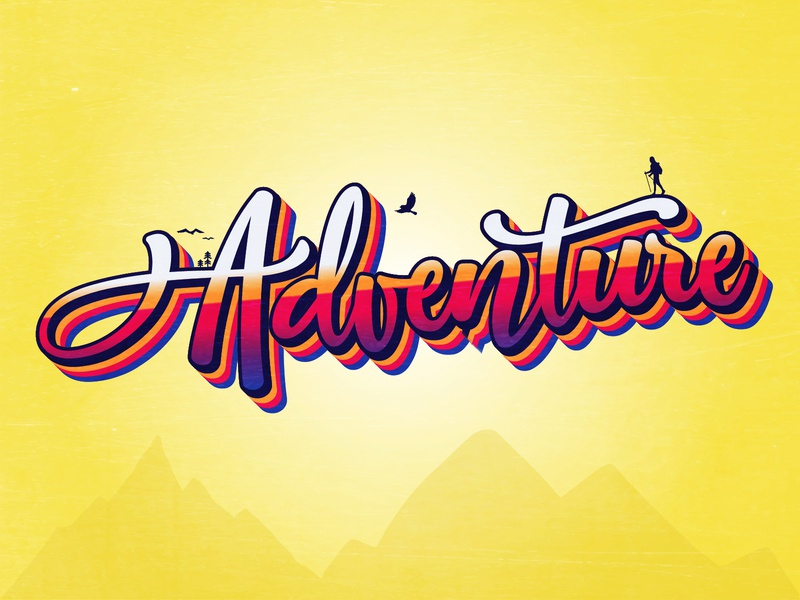 A says Adventure effects text typography art typography adventure dailychallenge vector illustrator illustration design