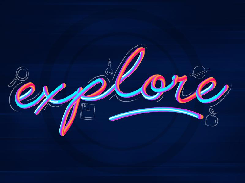 E says Explore create planet books magnifying apple learning explore dailychallenge vector illustrator illustration design