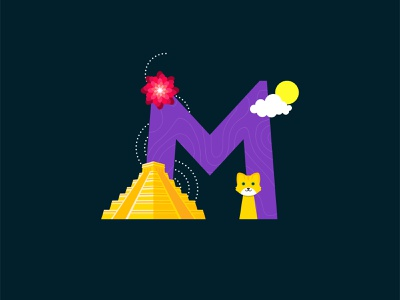 M for Mexico! chichén itzá dahlia wildcat mexico cutegraphicstyle dailychallenge vector illustrator illustration design