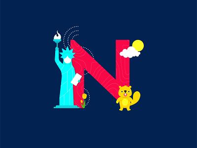 N for NewYork beaver tulips statueofliberty newyork creative cutegraphicstyle dailychallenge vector illustrator illustration design