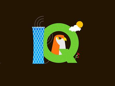 Q for Qatar qataf tornado tower falcon qatar dailychallenge vector illustrator illustration design