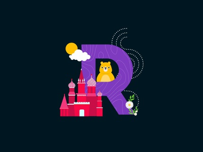 R for Russia! bear camomile monumenttomininandpozharsky cutegraphicstyle dailychallenge vector illustrator illustration design