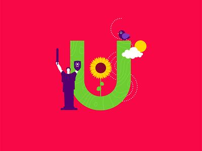 U for Ukraine motherland monument nightingale sunflower creative cutegraphicstyle dailychallenge vector illustrator illustration design