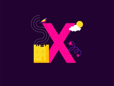 X for Xipre cyprus limassol castle xipre creative cutegraphicstyle dailychallenge vector illustrator illustration design