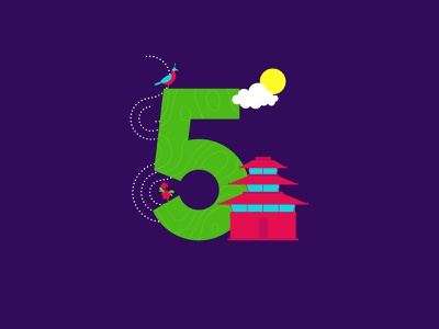 5 is for Nepal! vibes nepaltemple monal rhododendron nepal flat creative cutegraphicstyle dailychallenge vector illustrator illustration design