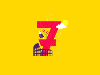 7 is for Rome! travel vibes eagle lily colosseum rome wanderlust bucketlist flat creative cutegraphicstyle dailychallenge vector illustrator illustration design