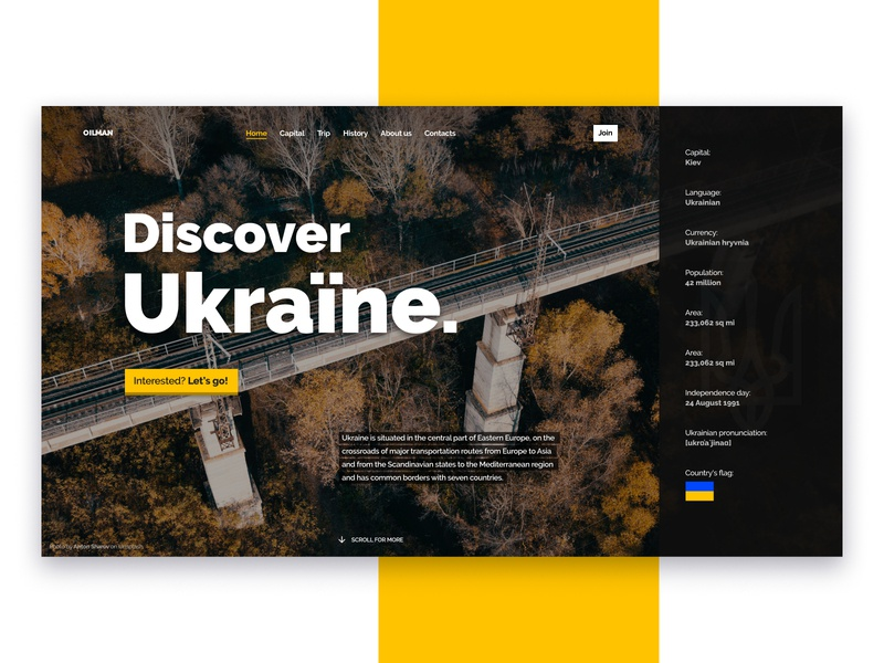 Discover Ukraine website landing ui travel discover ukraine homepage webpage web promo title screen article news