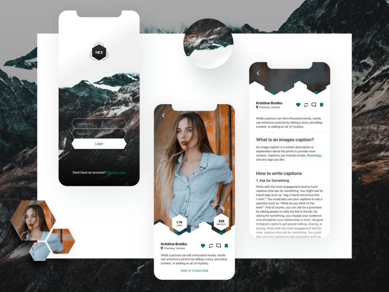 HEX – the blog iphonex mountains like photo logo design mobile mobile app application clean article login ux ui blog app
